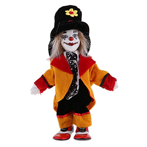 Prettyia Porcelain Clown Doll for Kids Birthday Gifts Halloween Christmas Decoration #2