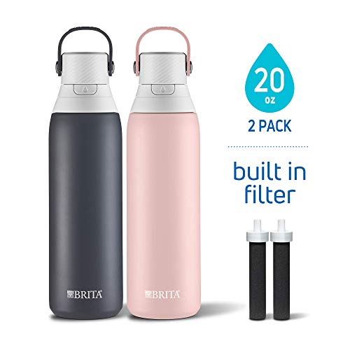 BRITA'S NEW 20 OZ DOUBLE WALL INSULATED FILTERING WATER BOTTLES! 2 PACK