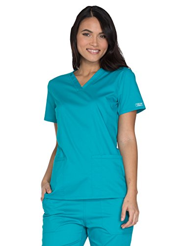 Cherokee Workwear Core Stretch WW630 V-Neck Top Teal Blue 4XL