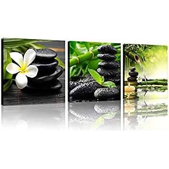TutuBeer 3 Panel Zen Canvas Wall Art Still Life SPA Stone Green Bamboo White Frangipani Flower Pictures Prints on Canvas for Home Office Kitchen Wall Decor Stretched and Framed Each Panel 12x12inch