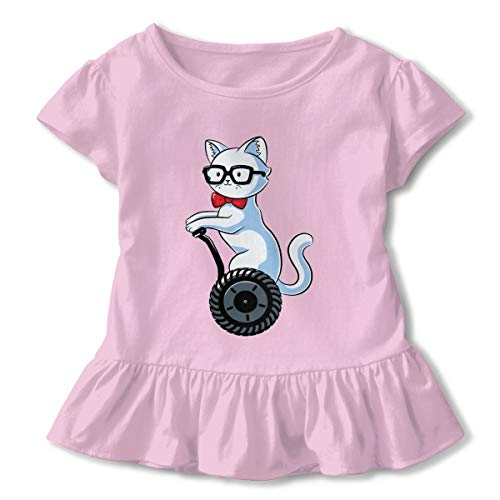 Toddler Girl Nerdy Cat Short Sleeve Dress Ruffle T Shirts Tops Tee Clothes Pink ()