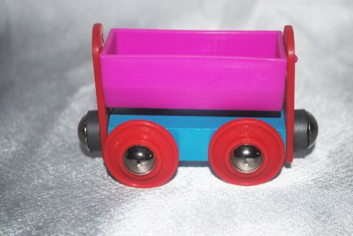 Wooden 1995 Sesame Street Pink & Blue Coal Tender w/ Red - Import It All