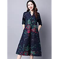 De la Mujer Azul de Nueva grande Yards Loose en algodón y lino manga larga vestido original nacional estilo stand-collar Retro Impresión Largo Falda M Código