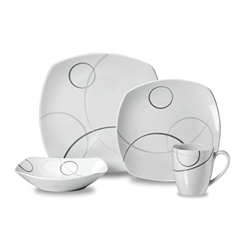 Mikasa Circle - Mikasa Geometric Circles 4-Piece Place Setting Dinnerware Set, Service for 1