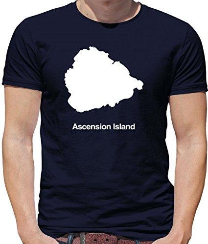 Ascension Island Silhouette - Mens Crewneck T-Shirt - Navy Medium