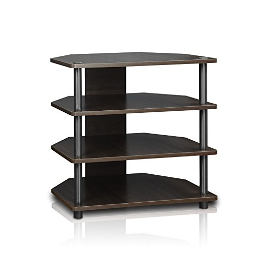 Furinno 15093CC/GY Turn-N-Tube Easy Assembly 3-Tier Petite TV Stand, Espresso