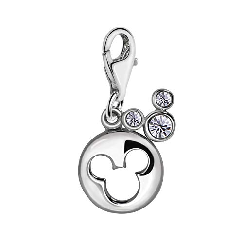 Quiges 925 Sterling Silver White Cubic Zirconia 2 Single Cartoon Mouse Symbol Lobster Clasp Charm Clip on Pendant