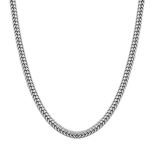 KRKC&CO 3mm Franco Chain White Gold Plated Necklace Hip Hop Fashion Jewelry for Men Women 20-24 inches (White Gold, 24) (Pattern White Gold Necklace)