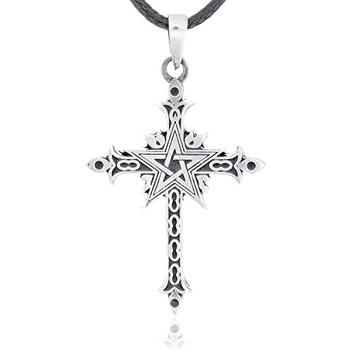 Fine Pewter Necklace (Dan's Jewelers Punk Gothic Cross Pentagram Necklace Pendant, Fine Pewter Jewelry)