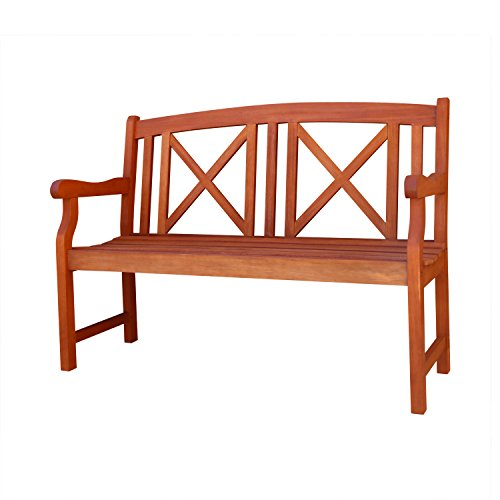 VIFAH V507A 2-Seater Outdoor Wood Bench, 47-Inch by 25-Inch  by - Teak 2 Seater