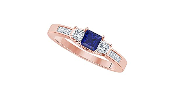 Star Retail Princess Cut Lab Created Blue Sapphire Cubic Zirconia CZ 1.50ct 3-Stone Rhodium Plated Alloy Engagement Ring Available in All Ring Sizes 4-11