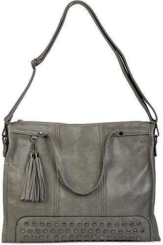 Blu manici styleBREAKER mano borsa lo canvas e con borsa borsa nappe donna con Scuro borchie colore borsa tracolla a Beige a per 02012136 shopping da vrgqEg