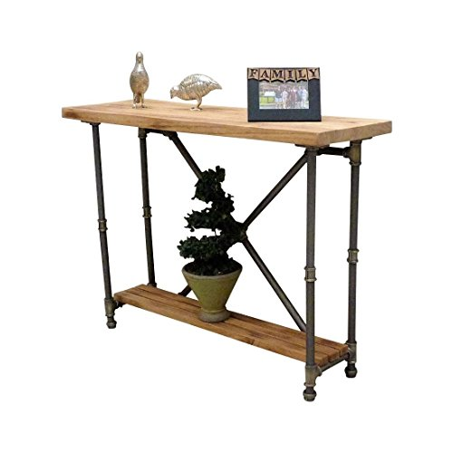 Houston Industrial Vintage 2-Tier Pipe Solid Wood Console Sofa Hall Entry Bookcase Table Etagere Metal and Reclaimed Aged Wood Finish (Natural Stained Wood)