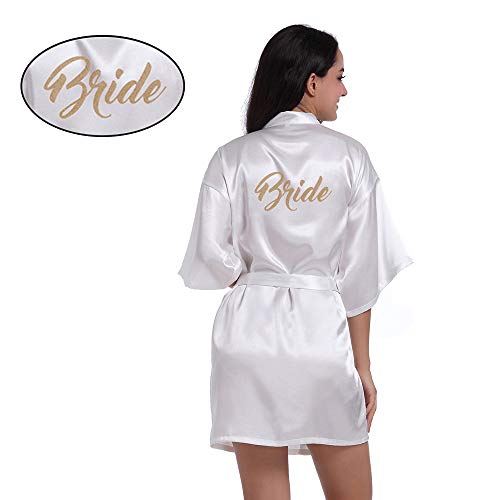 (Amzchoice Satin Kimono Wedding Party Getting Ready Robe Gold Glitter (White, S) )
