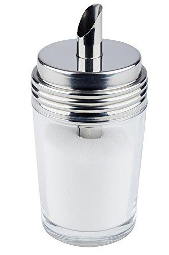 mit Schraubverschluss Dosier-Rohr /Ø 15 mm // /Ø 6,5 cm Inhalt: 0,20 ltr Zuckerdosierer aus Glas und Edelstahl 18//8 H/öhe: 14,5 cm | SUN