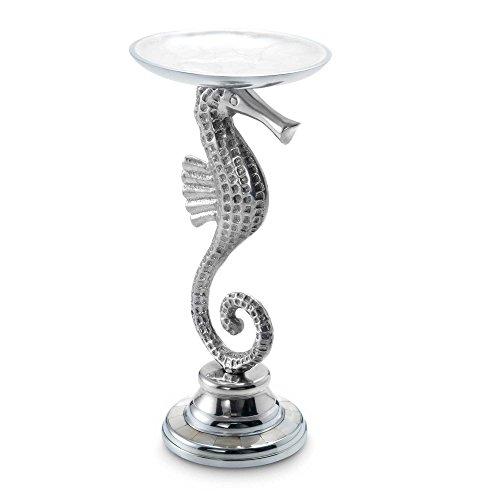 Julia Knight Sea Horse Pillar Candle Holder, 9.5-Inch, Snow, White by Julia Knight
