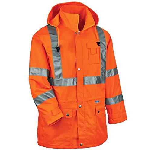 High Visibility Reversible Jacket - Ergodyne GloWear 8365 ANSI High Visibility Orange Reflective Rain Jacket, 5XL