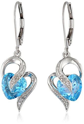 Diamond Blue Topaz Ring Earrings (10k White Gold Swiss-Blue-Topaz and Diamond Accent Heart Drop Earrings)