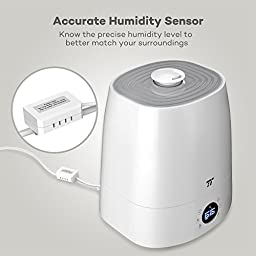 Warm & Cool Mist Humidifier with LED Display, TaoTronics Ultrasonic Humidifiers for Bedroom, External Humidity Sensor, 5.5L Capacity, 360° Rotatable Nozzle, Low Water Smart Protection