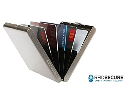 buy popular 5b913 949d7 RFID Blocking Stainless Steel Credit Card Protector for Men and Women -  Stylish Travel Wallet - Business, ID, Insurance, Debit, & ATM Card Holder  Case ...
