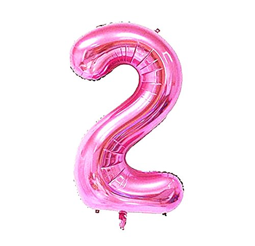 2 Pcs 42 Inch Pink Number 2 Foil Balloons by GOER,Number Balloons for Pink Party -