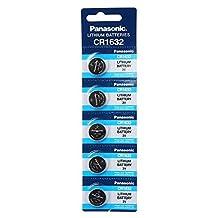 Panasonic CR1632 3V Lithium Battery 1PACK (5PCS) Single Use Batteries