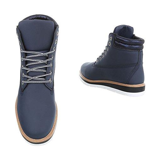 Schuhcity24 Damen Schuhe Stiefeletten Schnür Boots Blau