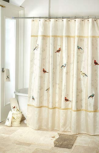"Avanti Linens Gilded Birds 72"" x 72"" Shower Curtain Gold and Ivory"