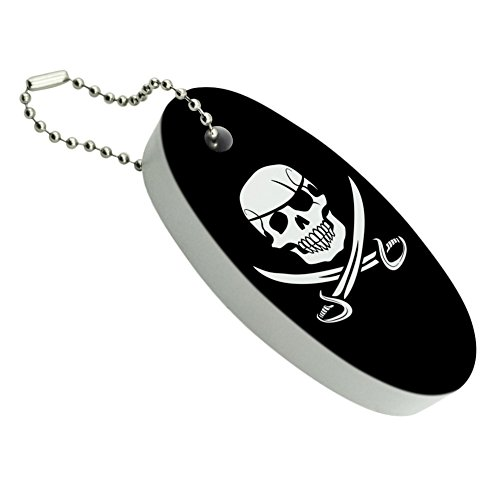 Pirate Skull Crossed Swords Jolly Roger Floating Foam Keychain Fishing Boat Buoy Key (Floating Keychain)