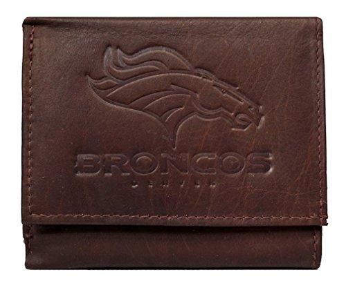 Rico Denver Broncos NFL Embossed Logo Dark Brown Leather Trifold Wallet