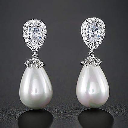 Pendientes de aleación Pendientes de perlas de novia con forma de gota de agua de moda Para mujer Pendientes largos de circonita cúbica Aaa