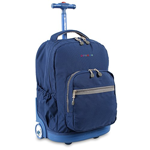 J World New York Kids' Everyday Rolling Backpack, Indigo, 18