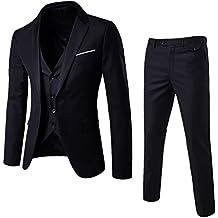 NiuZi Men's Fashion Casual Slim Fit Suit 3-Piece Business Jacket Vest &Pants