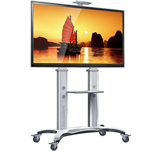 125 Stands - North Bayou TV Stand with Wheels TV Cart Mobile TV Stand for Flat Screens 55-80 Inch LCD LED OLED Plasma Flat Panel TV Stand with Mount TV Cart Heavy Duty up to 125lbs AVF1800-70-1P Silver