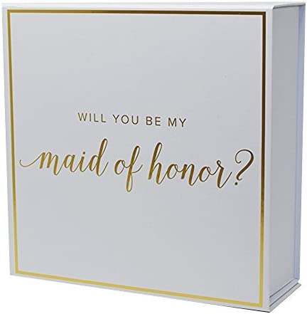 Maid of Honor Proposal BoxGold Foiled Text   Set of 1 Empty Box   Perfect for Will You Be My MOH gift and wedding present