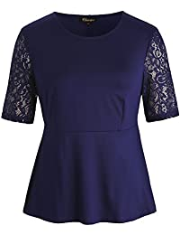 Chicwe Women's Stretch Peplum Plus Size Tunic Top WTH Floral Lace Sleeves Size 1X-4X