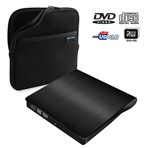 USB 3.0 External DVD Drive, Jelly Comb Slim Portable External DVD/CD Rewriter Burner Drive High Speed Data Transfer + Storage Bag for Laptop, Notebook, Desktoop, Linux, Mac MacBook Pro, MacBook - Speed High Storage