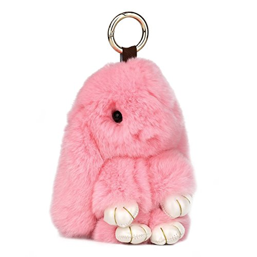 Bunnies Pink Fluffy (PONOBO Fluffy Bunny Keychain Real Soft Rabbit Fur Keychains for Women Handbag Keyring Bag Charms Car)