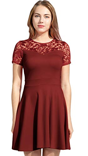 Flounce Dress Lace (Sylvestidoso Women's A-Line Pleated Short Sleeve Little Wine Cocktail Party Dress with Floral Lace (S, Wine))