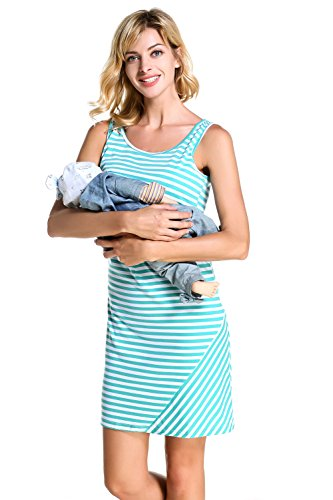 Chulianyouhuo Womens Ladies Maternity Pregnant Breastfeeding Nursing Dress Teal Black Striped Dress