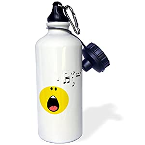 "3dRose wb_113110_1 ""Singing smiley face yellow cartoon singer cute musical music rock pop star opera musician"" Sports Water Bottle, 21 oz, White"