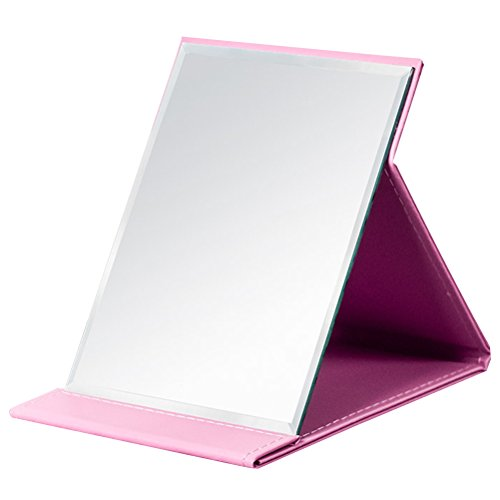 JOLY Protable PU Leather Mirror Folding Desktop Makeup Mirror with Adjustable Stand for Personal Use,Travelling (L, Pink)