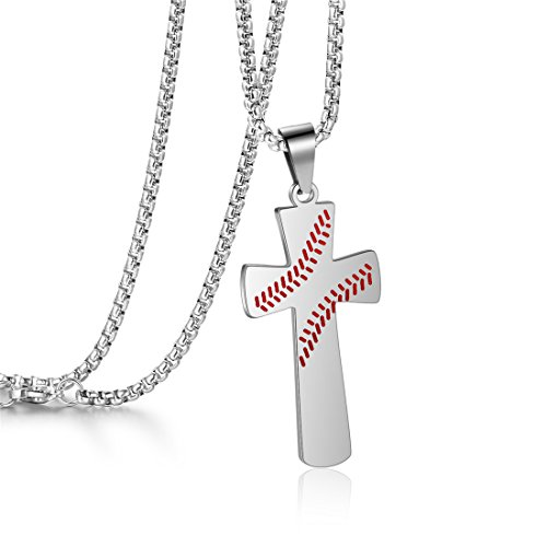 (Baseball Cross Necklace I CAN DO All Things Strength Bible Verse Rolo Stainless Steel Chain Pendant Necklace (Silver Cross Necklace) )