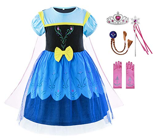 Padete Baby Girl Princess Anna Alice Elsa Little Mermaid Snow White Dress Costume (18-24 Months, Anna with -