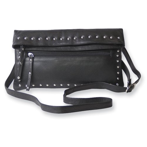 Black Leather Fold Over Cross Body Bag, Bags Central