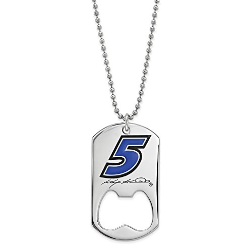 Stainless Steel Kasey Kahne #5 Dog Tag Bottle Opener Necklace Chain 22