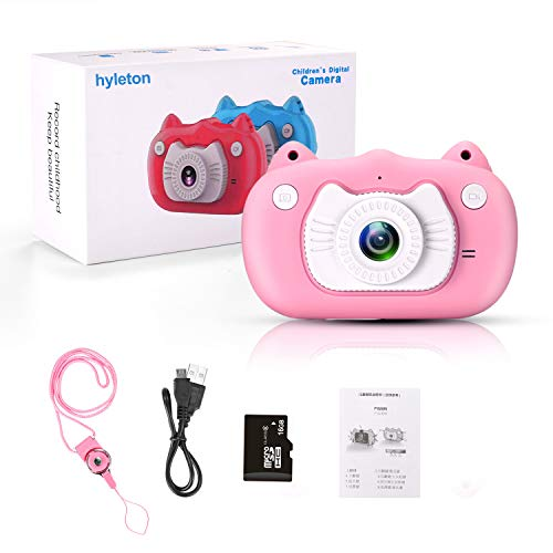 Kids Digital Camera for Girls Gift,hyleton Dual Lens 1080P 12MP FHD Child Toy Camera Camcorder with Zoom Function &16GB SD Card for Age 3-10