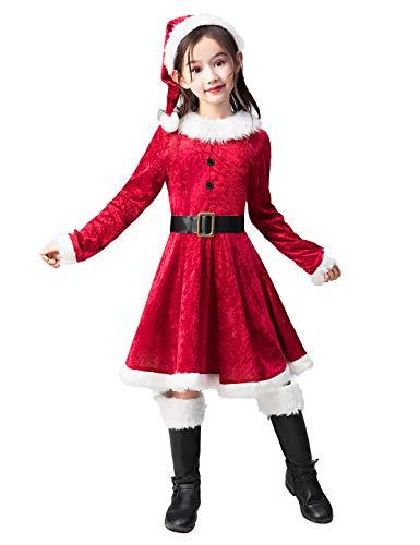Santa Dress Costume (Takuvan Little Mrs. Santa Suit Girls Christmas Dress Outfit, Kids Halloween Cosplay Costume for Party M)
