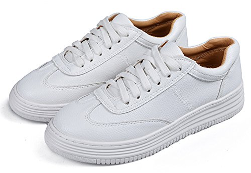 SHOWHOW Womens Comfortable Round Toe Lace Up Sneakners White VwjfdWc