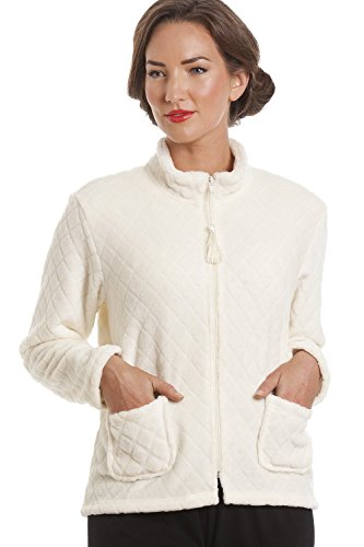 Camille Womens Ladies Ivory Supersoft Zip Up Bed Jacket Off-White